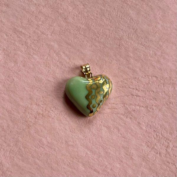 petit cœur porcelaine celadon et or belisame creations